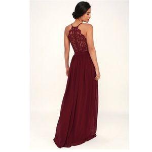 NWT Lulus Love Spell Lace Back Burgundy Maxi Dress